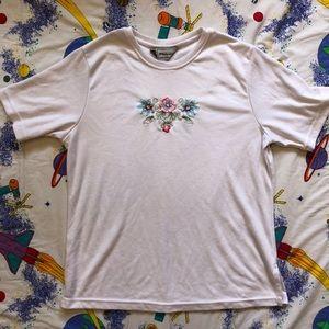 Vintage 80s Pale Pink Floral Embroidered Shirt